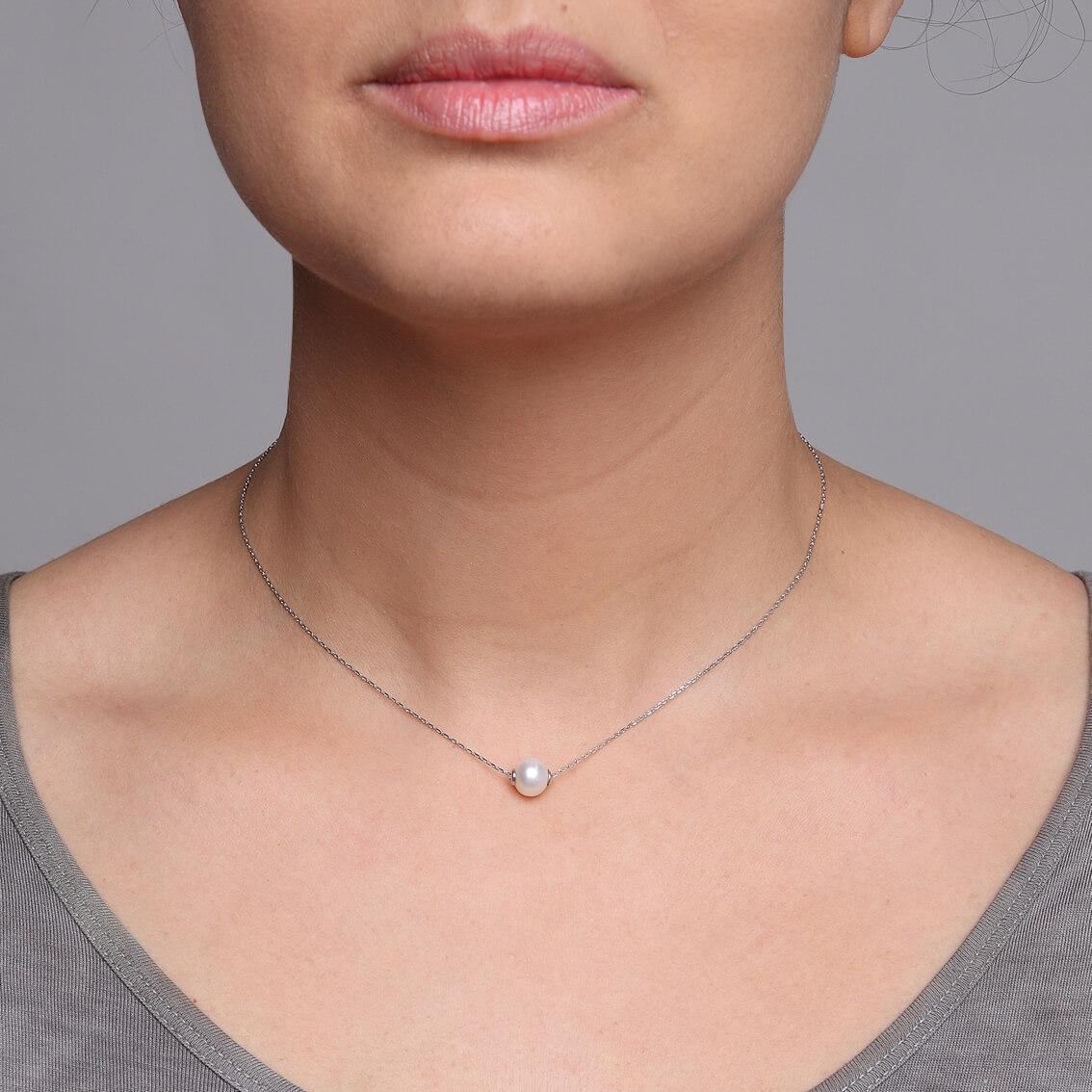collier argent et perle d'eau douce - Perlea