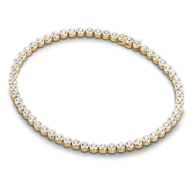 18k Yellow Gold Diamond Tennis Bracelet , Riviere 2.10 Carats