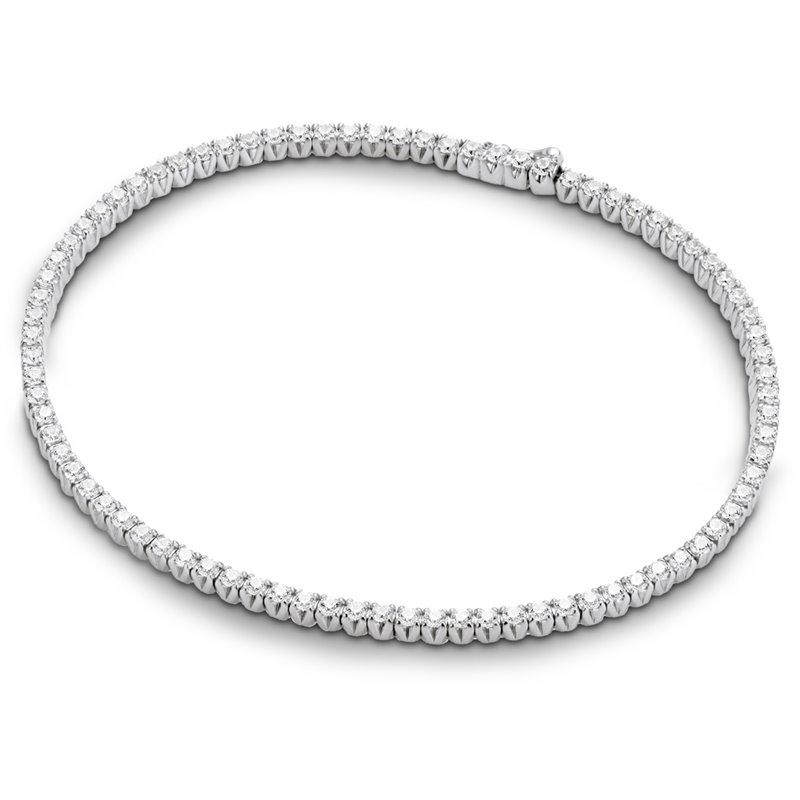 18k White Gold Diamond Tennis Bracelet , Riviere Flush 1.00 Carat
