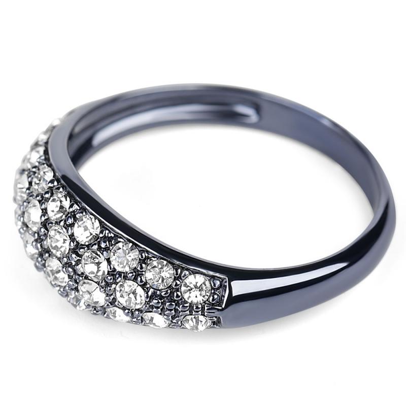 Bague noire en argent, cristal Swarovski , Glossy M