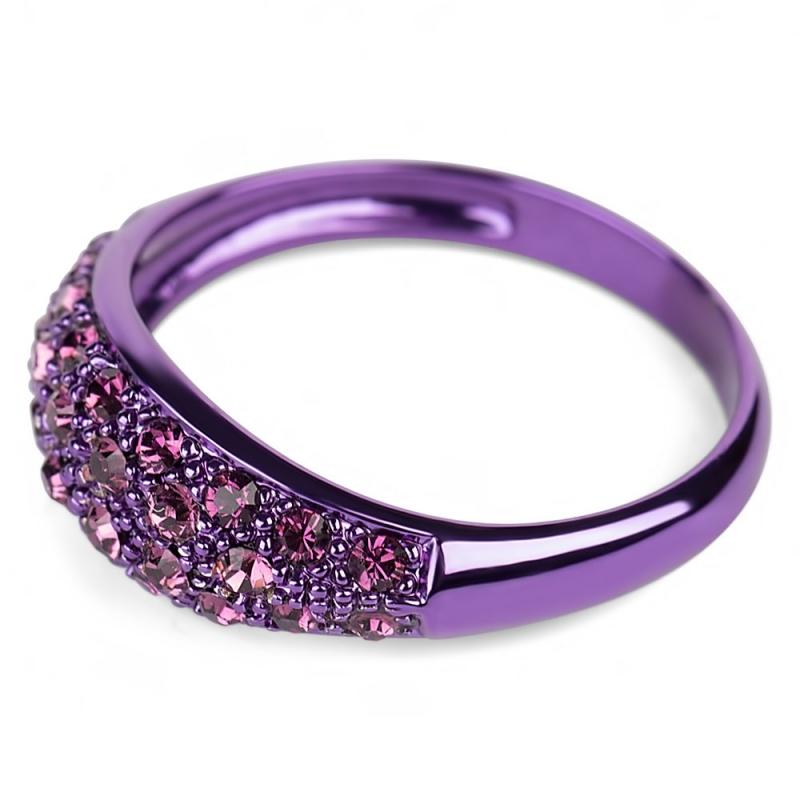 Bague violet en argent, cristal Swarovski , Glossy M