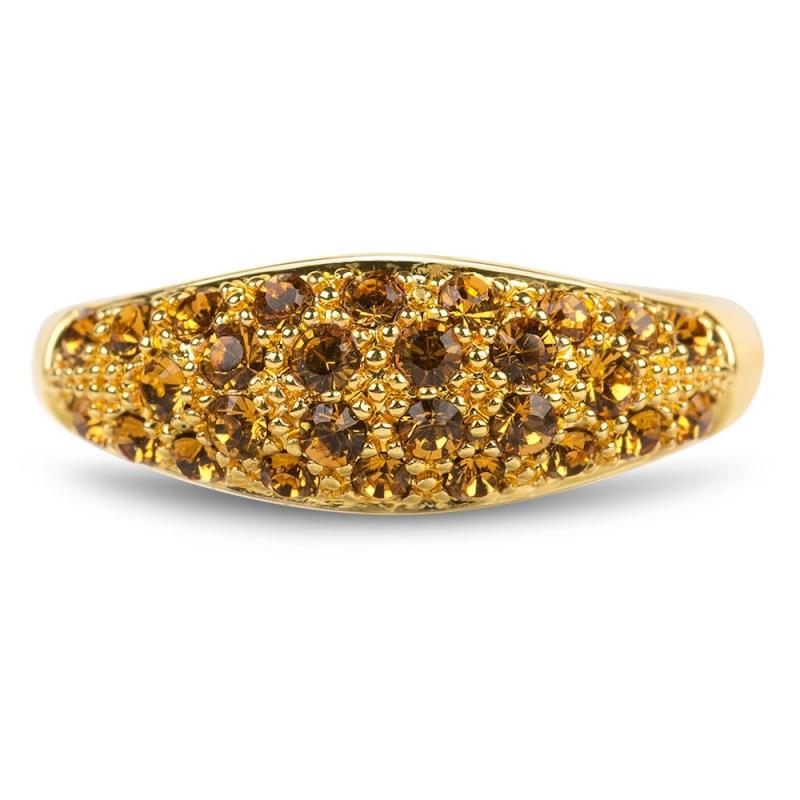 Bague dorée jaune en argent, cristal Swarovski , Glossy M