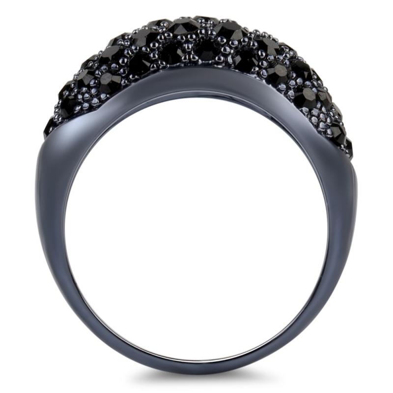 Bague noire en argent, cristal Swarovski , Glossy L Extase