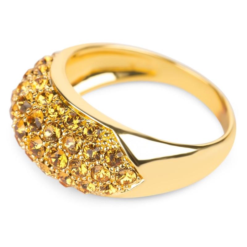 Bague dorée jaune en argent, cristal Swarovski , Glossy L