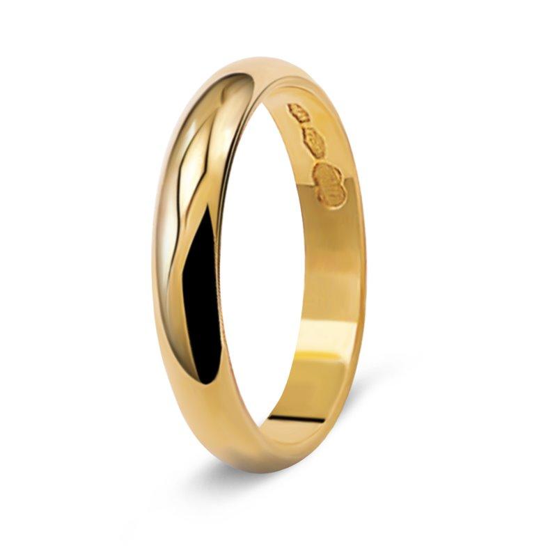 Yellow Gold Wedding Ring , Dauphine 3.4 mm