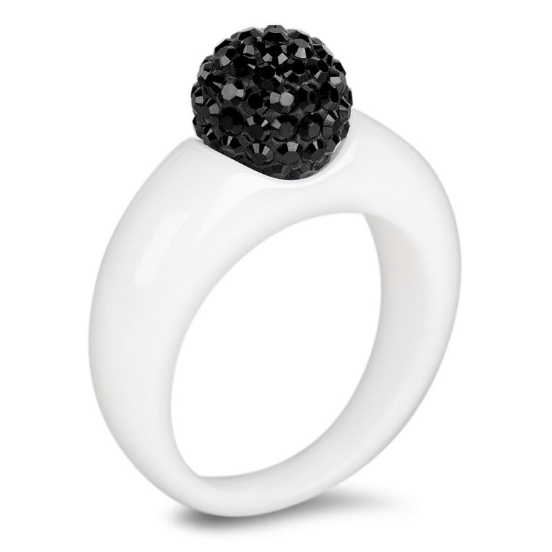Bague céramique, cristal Swarovski, Twist Black Diamond
