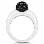 twist black diamond bague ceramique et cristal swarovski diveene paris