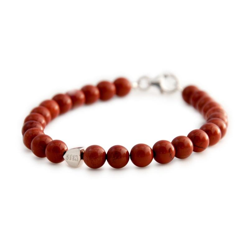 Bracelet Jaspe Rouge d'Afrique du Sud, Argent , Red Stone