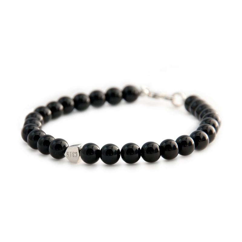 Bracelet Agate Noire, Argent , Black Agate