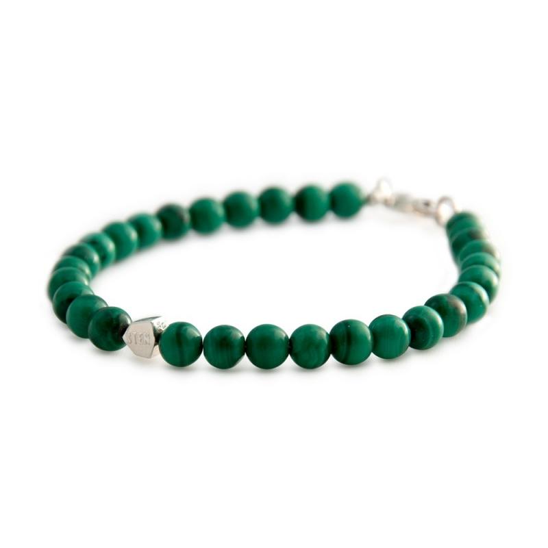 Bracelet Malachite, Argent , Malachite