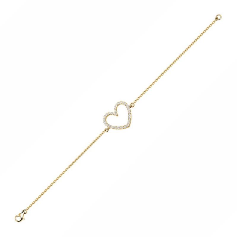 Bracelet or jaune, Diamants , Hearty