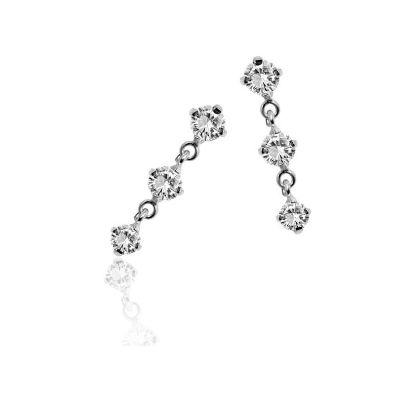 Boucles d'oreilles argent, oxydes de zirconium , Les Pendantes