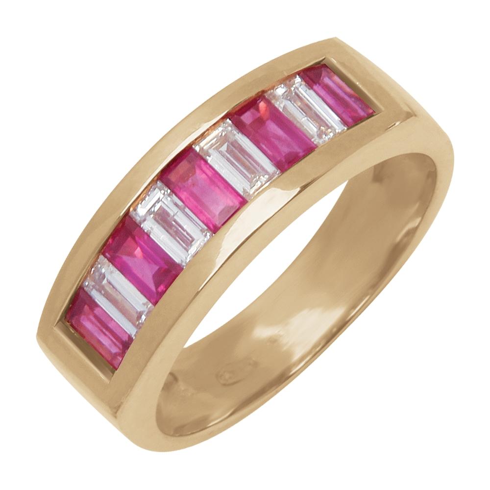 Bérénice alliance or jaune rubis et diamants Diveene joaillerie