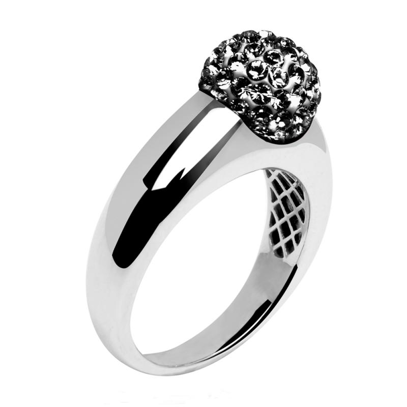 Bague en argent, cristal Swarovski, Diveene Dôme Black Diamond