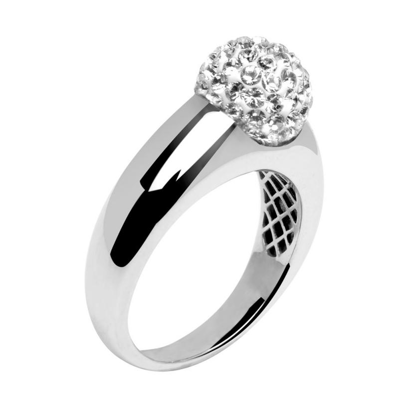 Sterling Silver Swarovski Crystal Ring, Diveene Dôme Crystal White