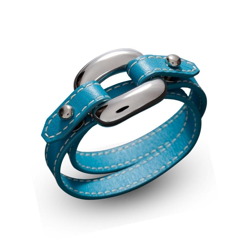 Bracelet double tour en cuir, Argent, Virgo