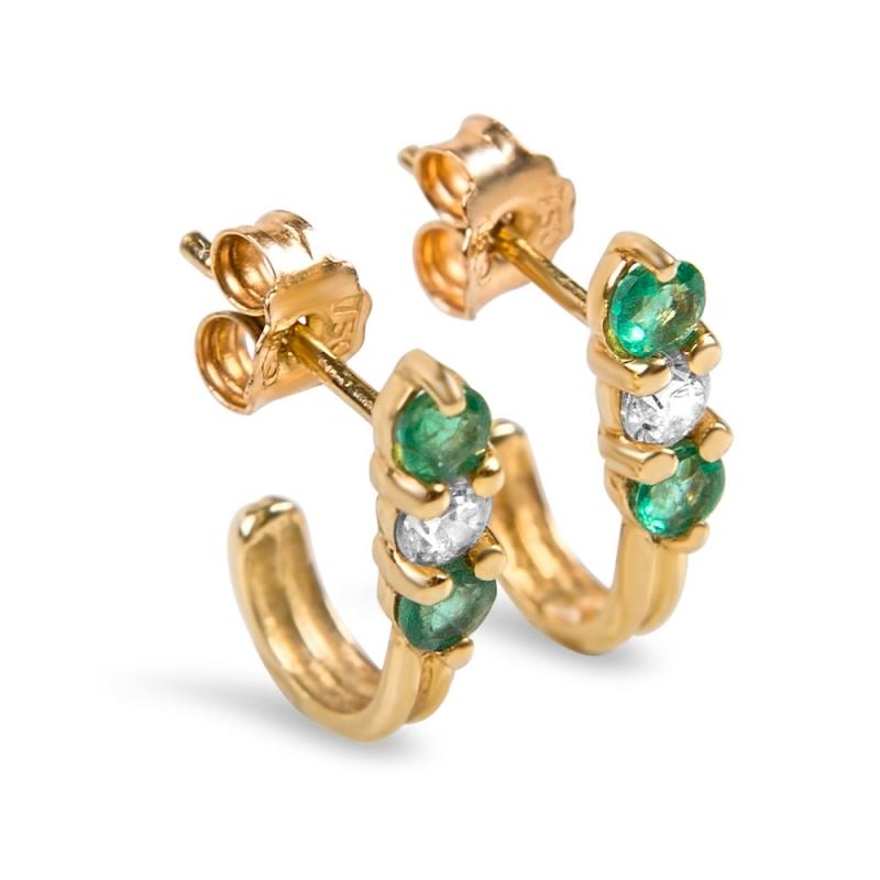 Boucles d'oreilles en or, Emeraudes et oxydes de zirconium , SIMBA