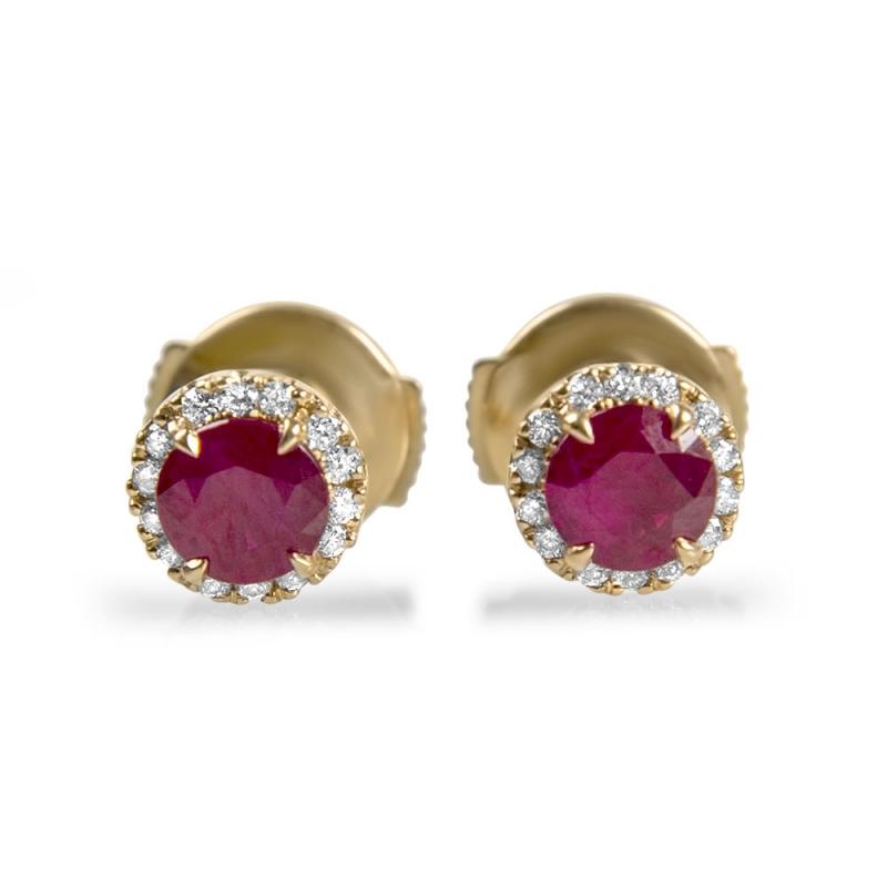 boucles d 39 oreilles en or rubis diamants siam. Black Bedroom Furniture Sets. Home Design Ideas