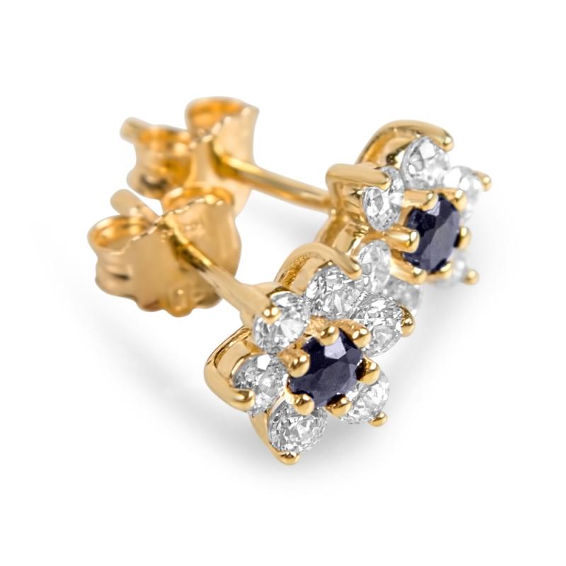Boucles d'oreilles en or, Saphirs, oxydes de zirconium , ELENA