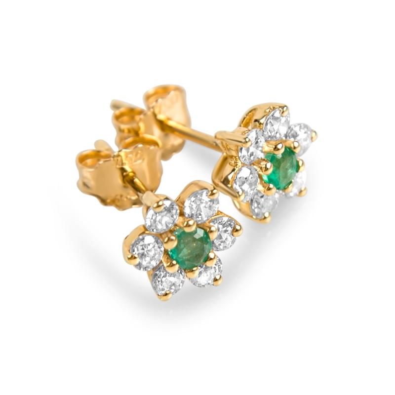 Boucles d'oreilles en or, Emeraudes, oxydes de zirconium , EDENA