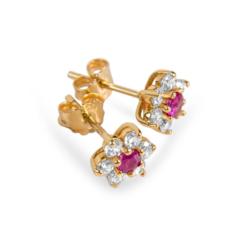 Boucles d'oreilles en or, Rubis, oxydes de zirconium , ADRIANA