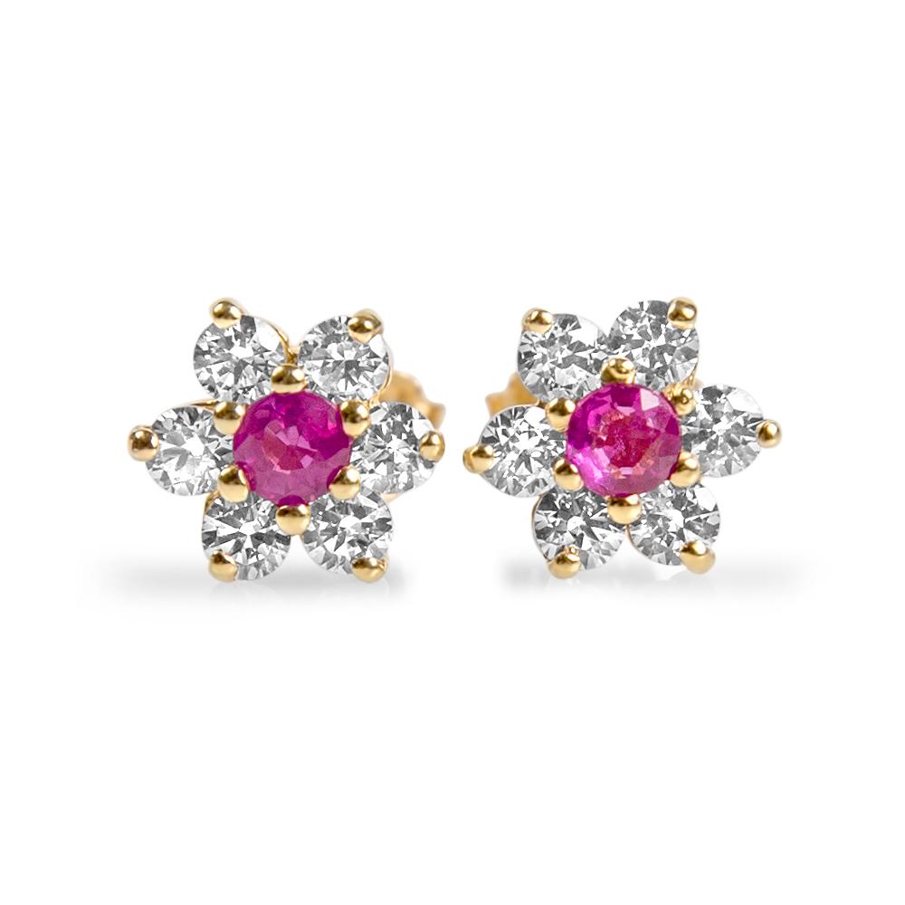 ADRIANA - Boucles d'oreilles or, rubis et oxydes de zirconium