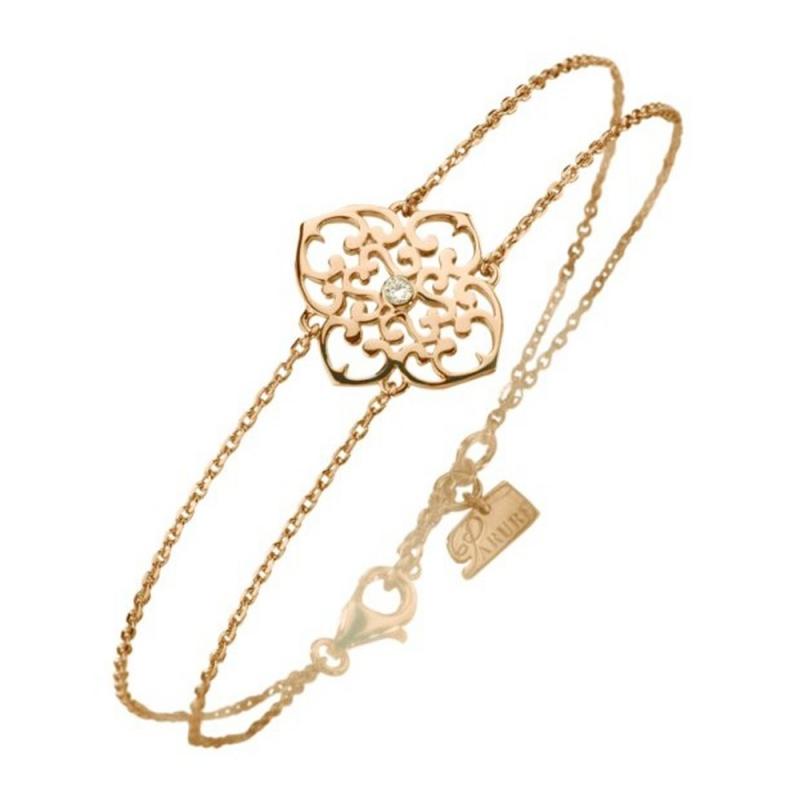 Bracelet vermeil jaune, Diamant , Trèfle