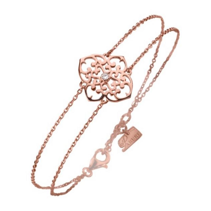 Bracelet vermeil rose, Diamant , Trèfle