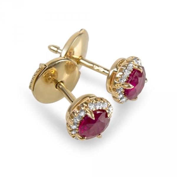 SIAM - Boucles d'oreilles or, diamants et rubis