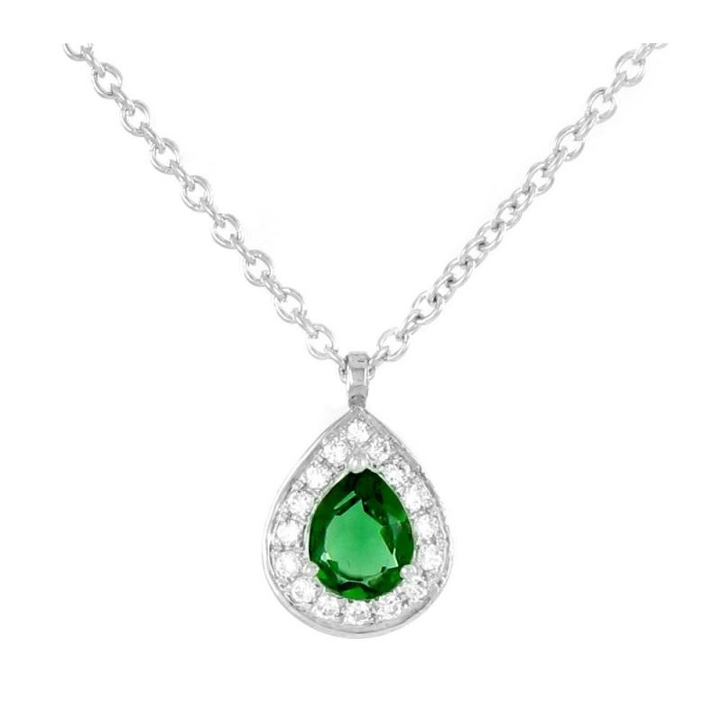 Collier or blanc, Emeraude et Diamants , Athena