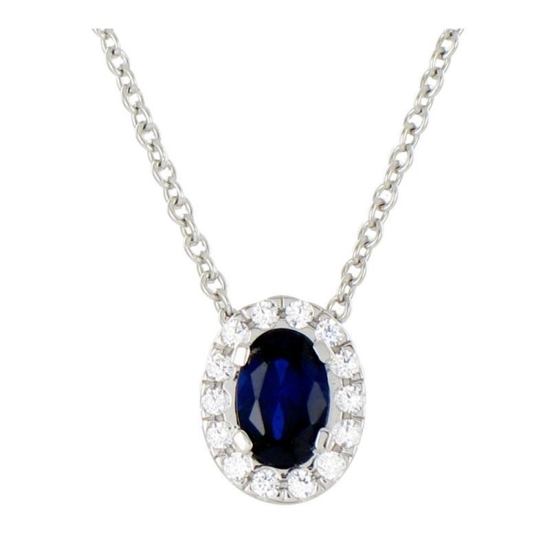 Collier or blanc, Saphir et Diamants , Hanae