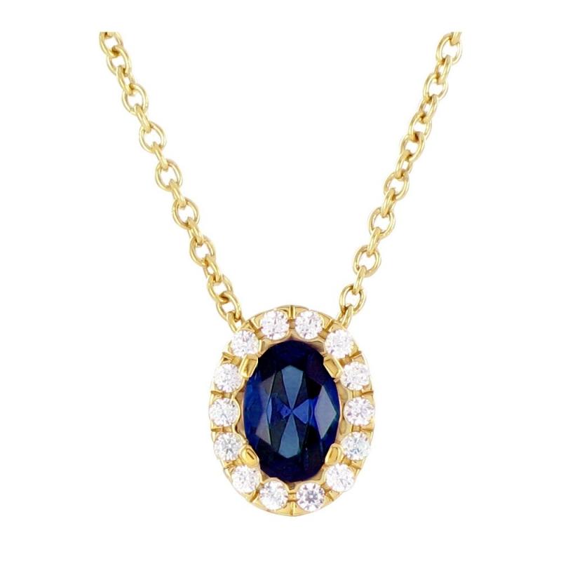Collier or jaune, Saphir et Diamants , Hanae