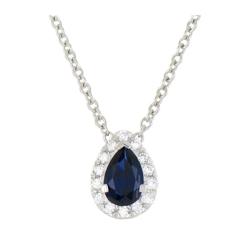 Collier or blanc, Saphir et Diamants , Chloé