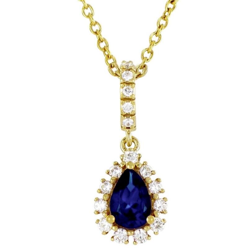 Collier or jaune, Saphir et Diamants , Sana