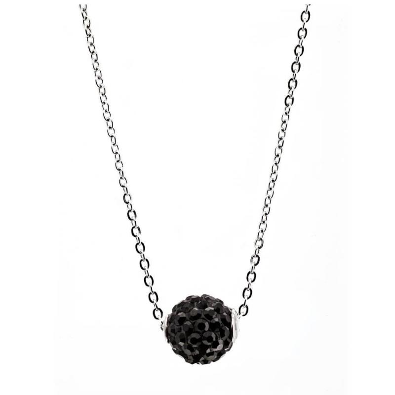 Collier argent, cristal Swarovski , Lady Glam Black