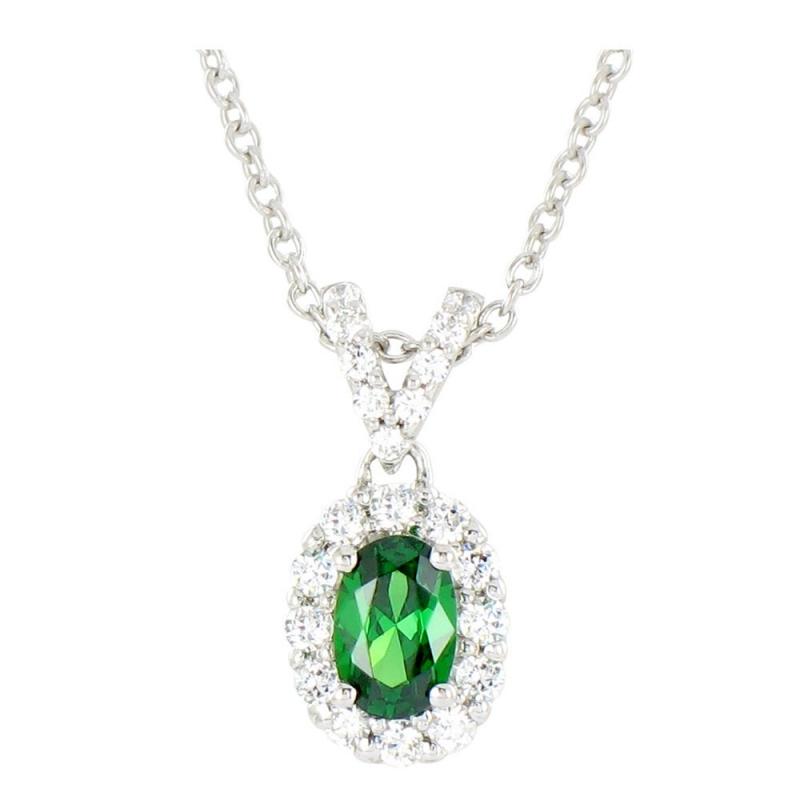 Collier or blanc, Emeraude et Diamants , Esther