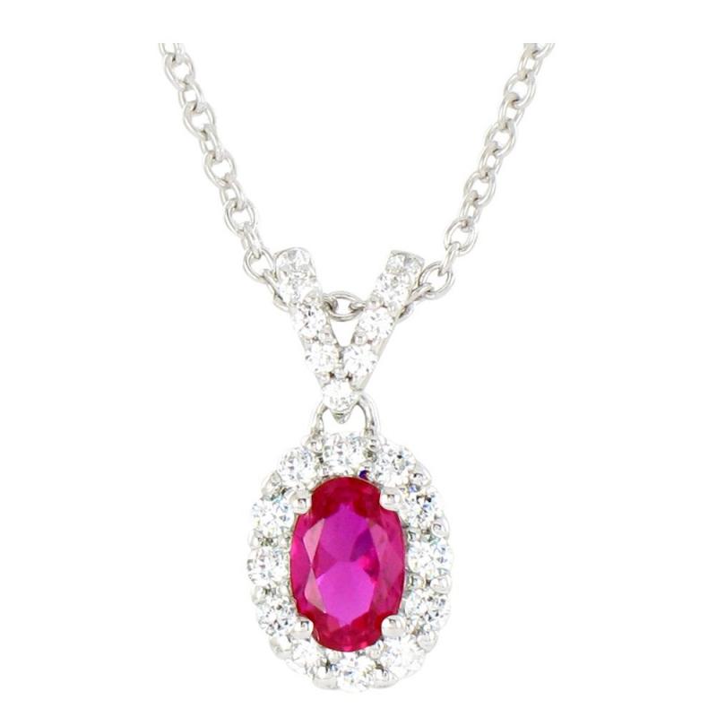 Collier or blanc, Rubis et Diamants , Ania