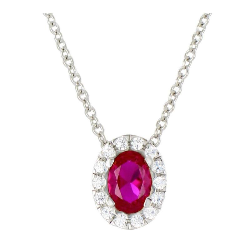 Collier or blanc, Rubis et Diamants , Marjorie