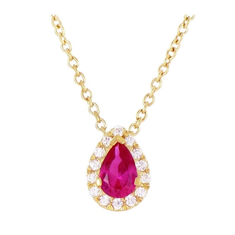 Collier or jaune, Rubis et Diamants , Maïa