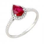 Pétula bague or blanc 18 carats rubis et diamants Diveene joaillerie