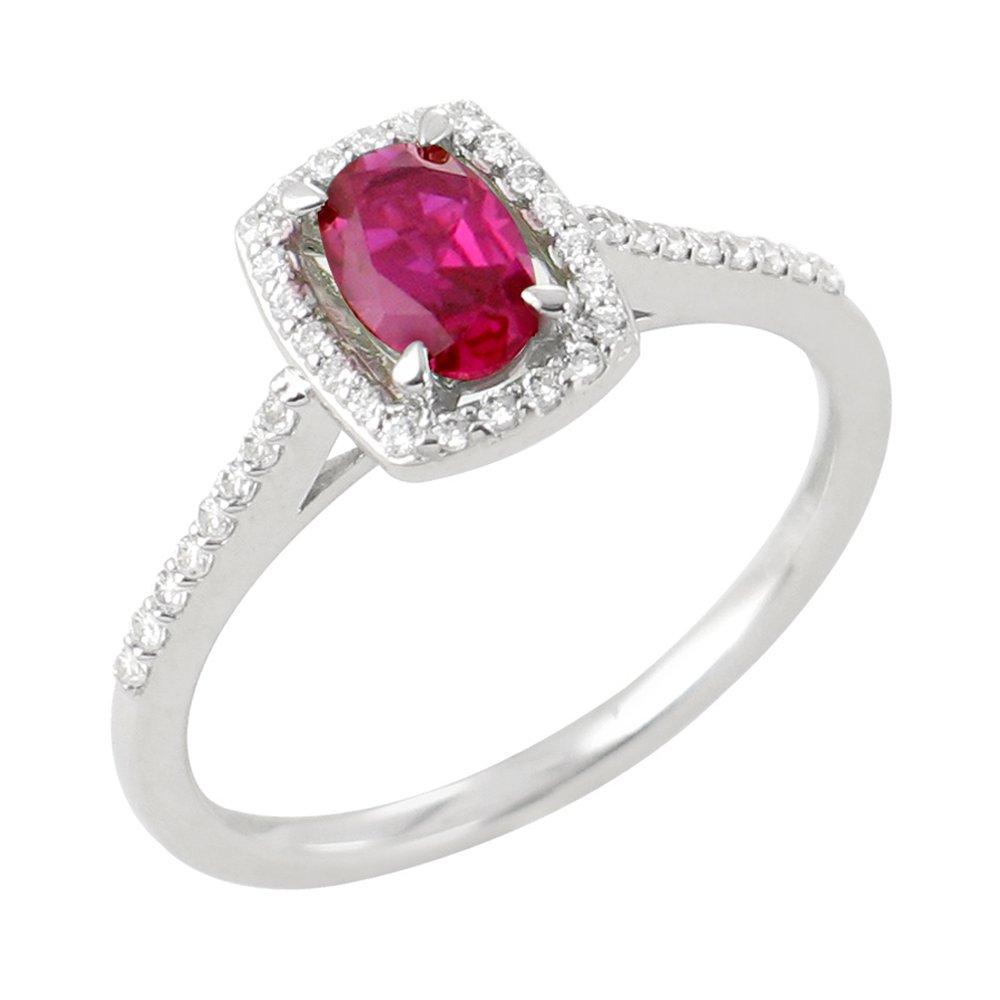 Ina bague or blanc 18 carats rubis et diamants Diveene joaillerie