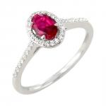 Surya bague or blanc 18 carats rubis et diamants Diveene joaillerie