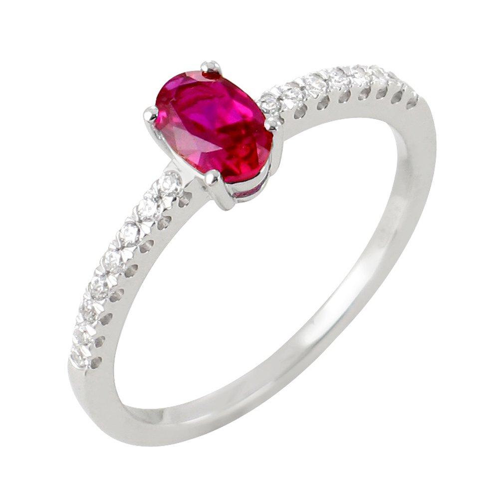 Sélene bague or blanc 18 carats rubis et diamants Diveene joaillerie