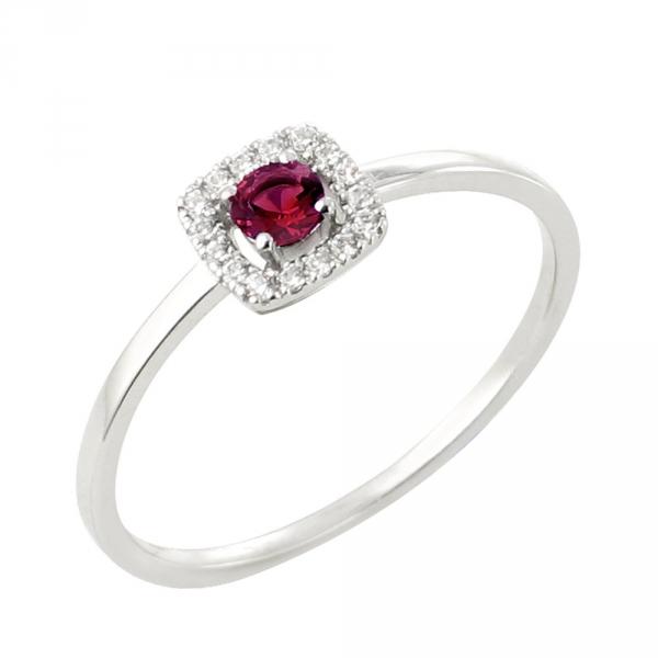 Tani bague or blanc 18 carats rubis et diamants Diveene joaillerie