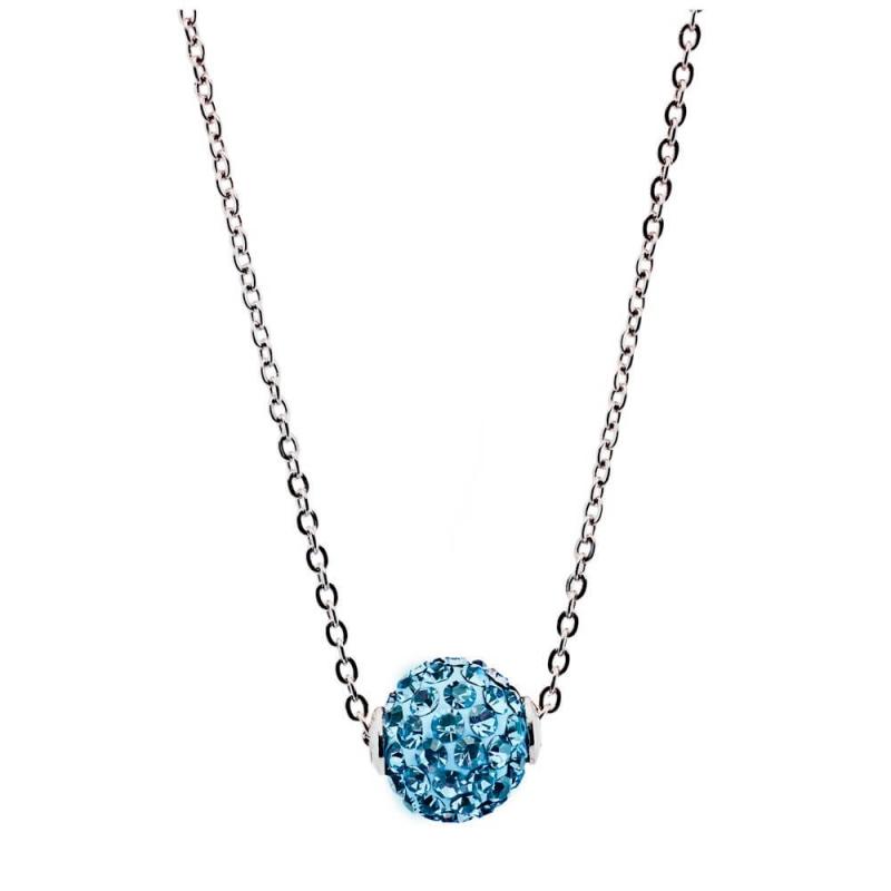 Collier argent, cristal Swarovski , Lady Glam Aquamarine