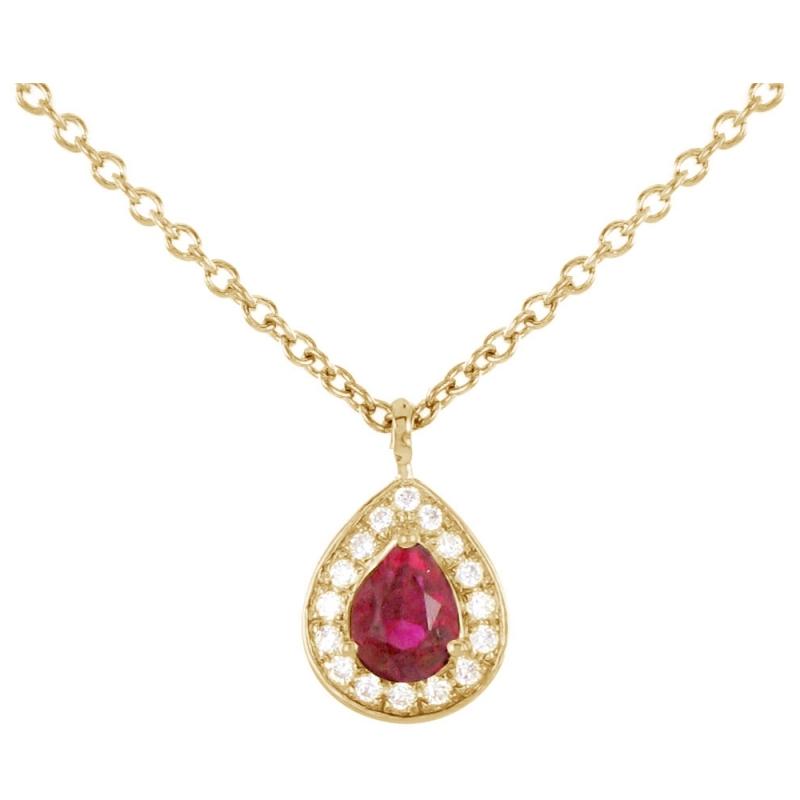 Collier or jaune, Rubis et Diamants , Aphrodite