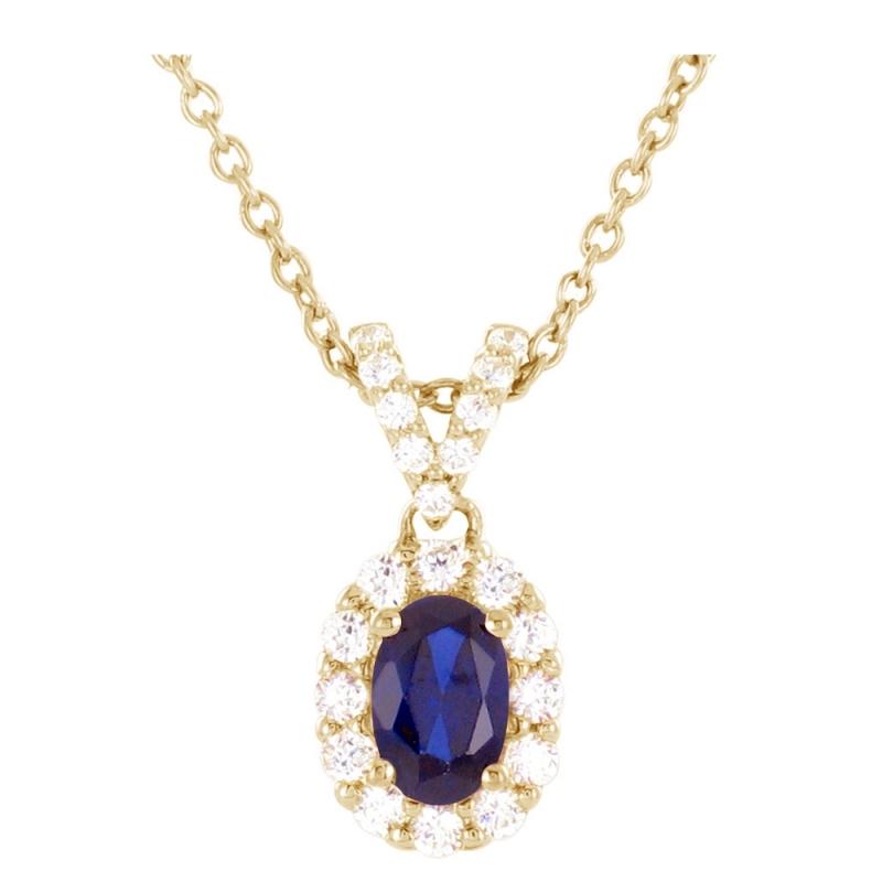 Collier or jaune, Saphir et Diamants , Oriane