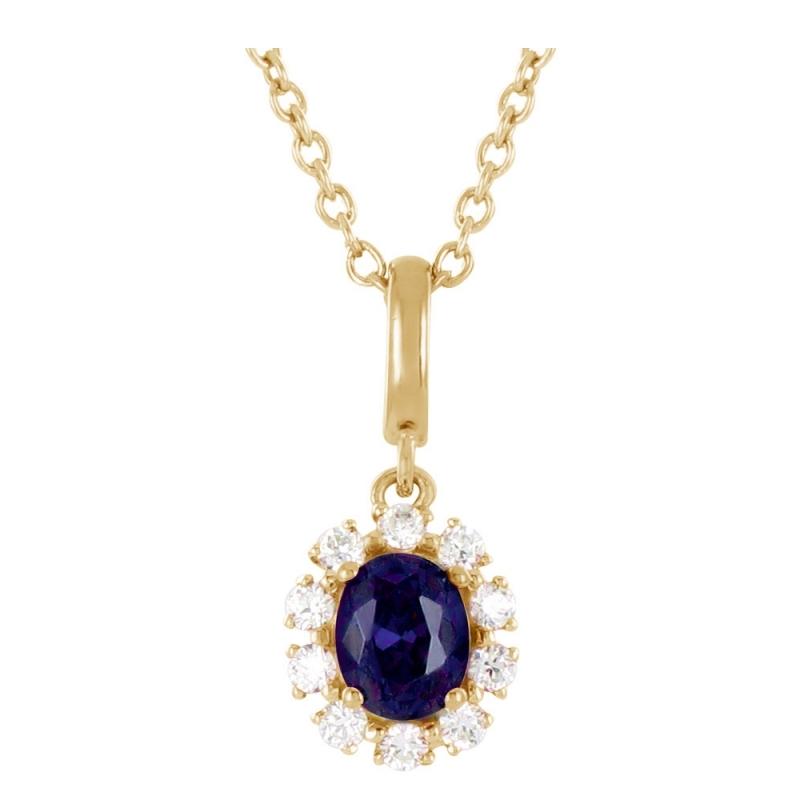 Collier or jaune, Saphir et Diamants , Anika