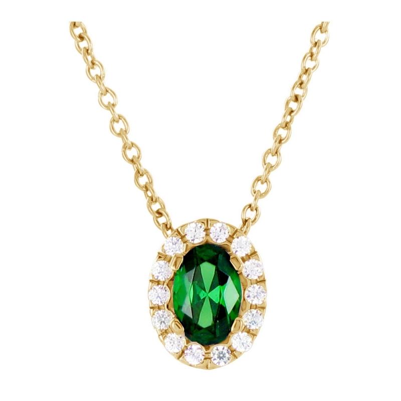 Collier Or Jaune, Emeraude et Diamants , Latina