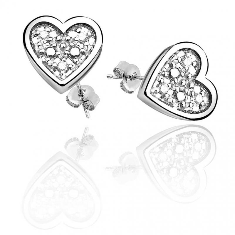 Boucles d'oreilles en argent, Diamants , Coeur Diamant